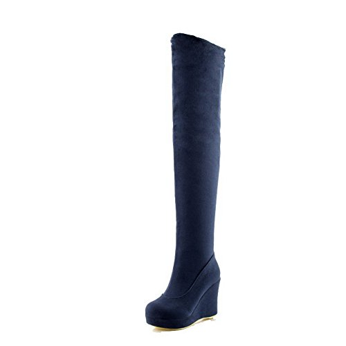 Allhqfashion Women's High-top Pull-on Frosted High-Heels Round Closed Toe Boots Blue