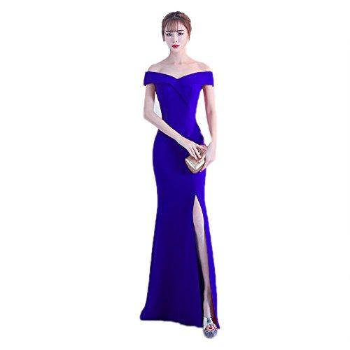 Women`s Cotylédons Sirène Robe De Soirée Robe Épaules Construit En Soutien-gorge Mince Bleu En Forme