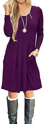 7a2882c21f0fa AUSELILY Women s Long Sleeve Pleated Loose Swing Casual Dress with Pockets  Knee Length