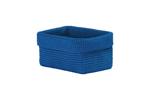 Heritage Lace Mode Crochet Rectangle Basket, 8 by 5 by 6-Inch, Cobalt Blue