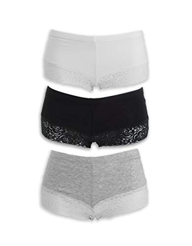 Emprella Women Boyshort Panties (3-Pack) Comfort Ultra-Soft Cotton Underwear (Medium, Assorted)