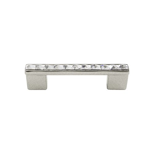 Brushed Nickel DecoUnique Pull Handle With Clear Swarovski Crystals 813 S BN C 3.4 inch