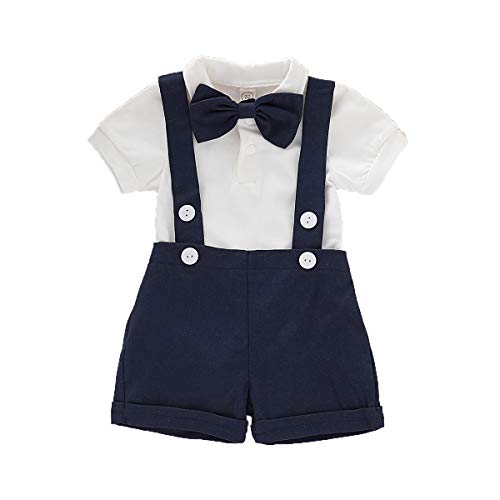 Baby Boys Gentleman Outfits Set Short Sleeve Romper with Tie and Overalls Bib Pants Wedding Tuxedo Outfits (Navy Blue, 12-18 Months) -