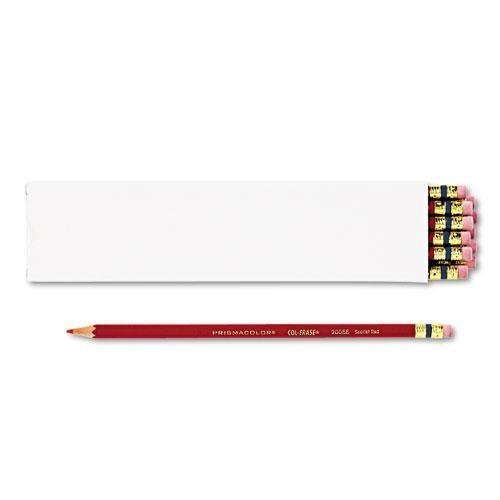 - SANFORD INK COMPANY 20066 Col-Erase Pencil w/Eraser, Scarlet Red Lead/Barrel, Dozen