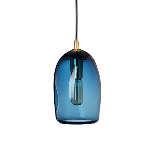 Casamotion Mini Pendant Lighting Handblown Glass Drop ceiling lights, Organic Contemporary Style Hanging Light, Grey blue