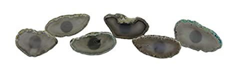 Stone Drawer Pulls Set Of 6 Natural Color Polished Agate Slice Stone Drawer Pulls 3.25 X 2 X 2 Inches Gray Model # - Grey Agate Stone