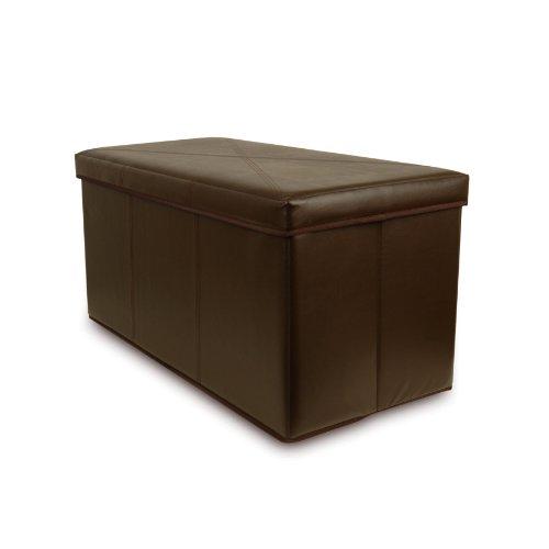 Bellagio-Italia Bench Storage Ottoman (Hazelnut) Faux Leather