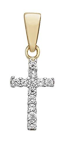 Pour enfant Or 9ct Oxyde de Zirconium Croix pendentif sur un collier de Prince de Galles