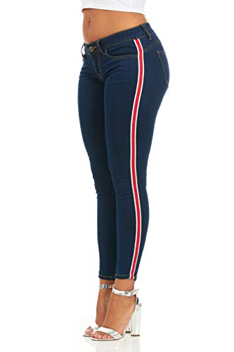 Cover Girl Women's Side Striped Skinny Jeans 2 Wash Options, Dark/Red, 13 Junior ()