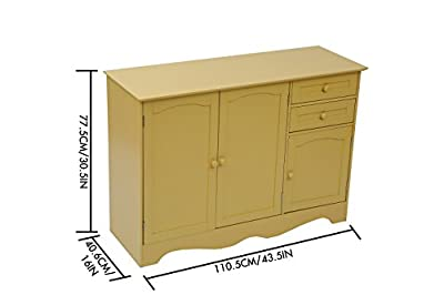 "Home-Like Kitchen Buffet Wood Storage Cabinet Sideboard Kitchen Island Buffet Table Free Standing Home Furniture 3 Drawers and 3 Cabinets for Additional Storage Space Yellow Color 43.5""Wx16""Dx30.5""H"