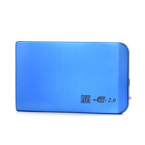 "2.5"" SATA to USB 2.0 External Hard Drive Enclosure Tool Free Aluminum Case Supports SSD and Mechanical Drives (Blue)"