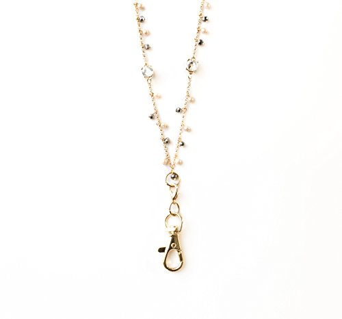 Susanne Pearlized Crystal Dangle Lanyard Necklace (gold)