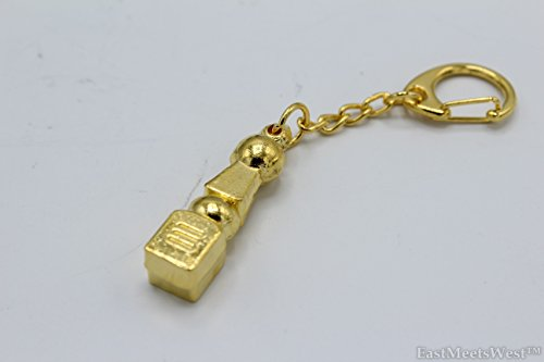 LuckyGifts Gold Plated 5 Elements Pagoda Key Chain Hangbag Hanging Charm Feng Shui Protection