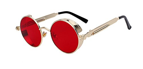 Round Metal Sunglasses Steampunk Men Women Fashion Glasses Brand Designer Retro Vintage Sunglasses UV400, Gold Frame Sea Red - Ban Ray Meteor