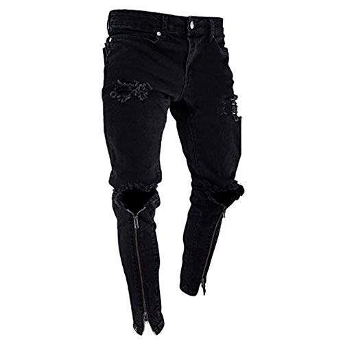 Nero Hem Tinta Keephen Unita S Strappati Hole 3xl Jeans Uomo Da Moda Zip Pantaloni Neri Denim Distressed wwHTqUR4nx