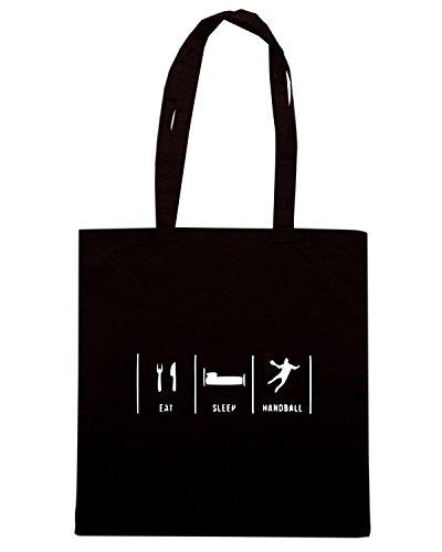 T-Shirtshock - Bolsa para la compra SP0063 Eat Sleep Handball Maglietta Negro