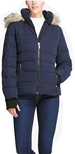 - DKNY.. Blue Faux Fur Hooded Puffer Jacket, XL