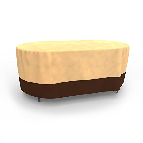 Budge All-Seasons Oval Patio Table Cover, Extra Large (Khaki Brown) (Extra Garden Large Oval Furniture Cover)