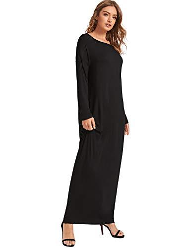 Verdusa Women's Long Sleeve Pocketed Loose Long Lounge Maxi Dress