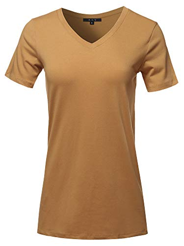 Basic Solid Premium Cotton Short Sleeve V-Neck T Shirt Tee Tops Coffee ()
