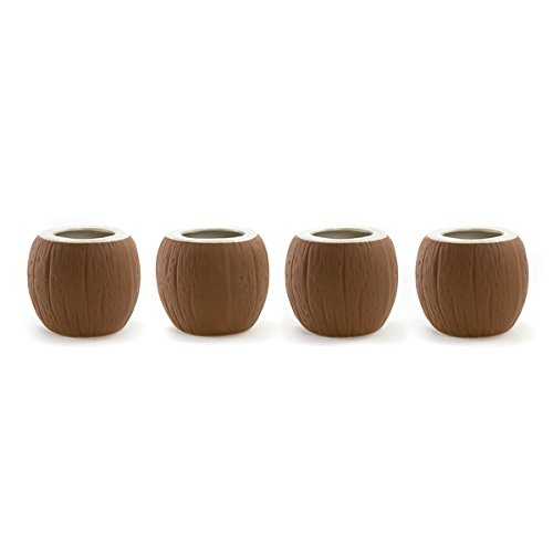 Coconut Tiki Mugs Set of 4