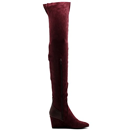 High Wedge Stretch Thigh Long Faux Shoe Boots Wine Heel Ollio Suede Women's WXEaA0AYU