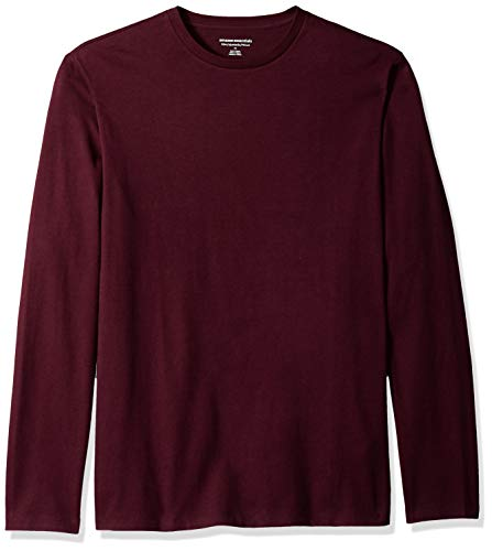 Amazon Essentials Men's Slim-Fit Long-Sleeve T-Shirt, Burgundy, Small ()