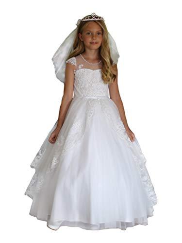 Angels Garment Big Girls White Satin Sequin Trim Lace Communion Dress 14 from Angels Garment