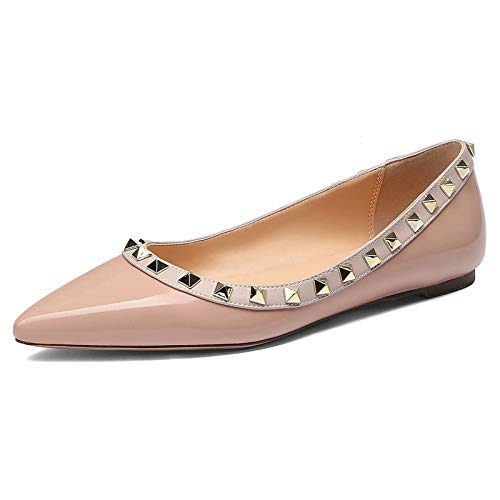 Flat Ballerina Studded - CHRIST Pointed Toe Studded Ballerina Leather Flats Nude Pink/Gold Studs/Nude Trim Size 7
