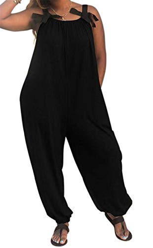 LAMISSCHE Womens Casual Solid Color Loose Fit Baggy Harem Overall Jumpsuit Sleeveless Spaghetti Strap Long Pants Rompers(Black,3XL)