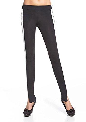 Bas Bleu Legging Sexy Noir avec Bandes Blanches Taille L