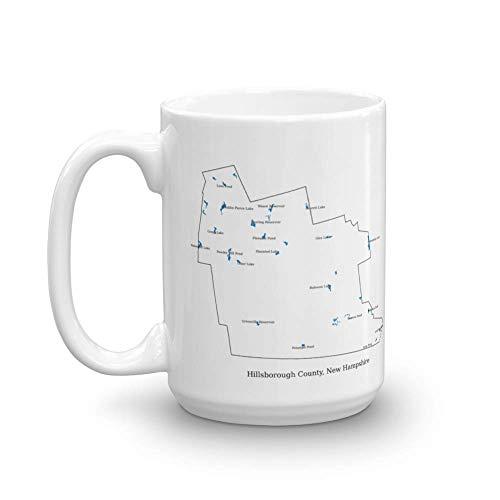 uscountymaps Hillsborough County, New Hampshire map Mug (15oz)