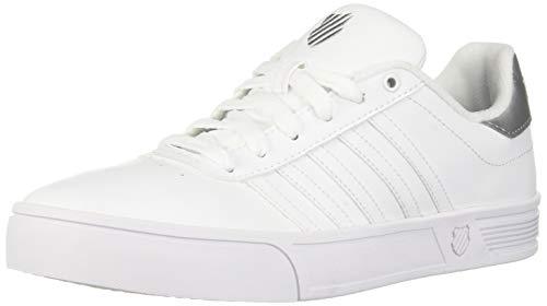 K-Swiss Women's Court Lite Stripes Sneaker, White/Silver, 5 M US