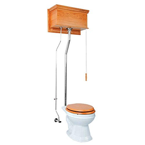 Light Oak High Tank Pull Chain Toilet With Round White Bowl Wood Chrome Pull Chain - Round Toilet Pull Chain