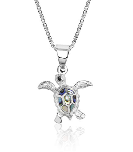 Honolulu Jewelry Company Sterling Silver Abalone Paua Shell Turtle Necklace Pendant with 18