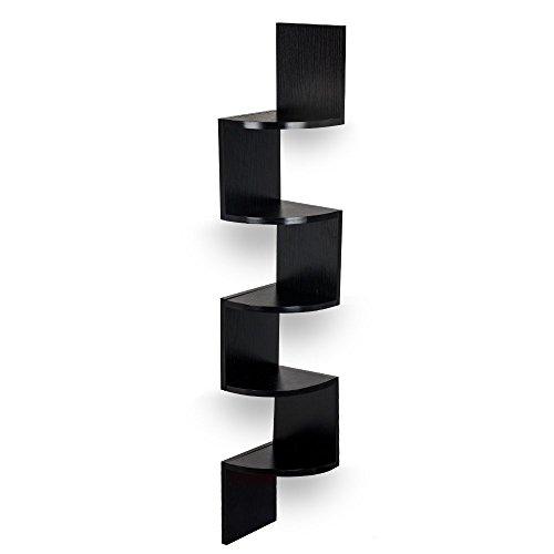 TopHomer Wall Mounted Corner Floating Display Shelf 5 Tier Unit Zig Zag Bookcase Storage Display (5 Shelf Dvd)