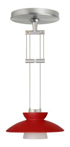 - Besa Lighting 1XA-271831-SN 1X50W Gy6.35 Trilo 7 Pendant with Red Matte Glass, Satin Nickel Finish