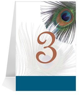 Wedding Table Number Cards - Peacock Feather #1 Thru #50