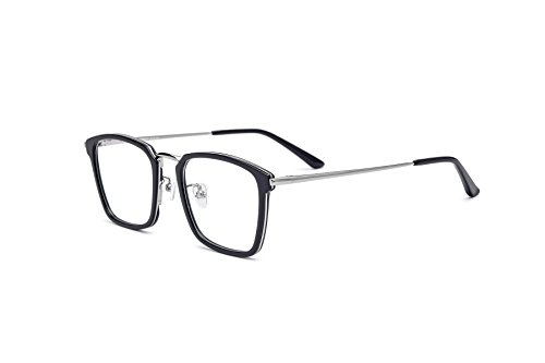 HEPIDEM Acetate Men Optical Myopia Glasses Frame Prescription Spectacle 70042 (Black - Retro Spectacles