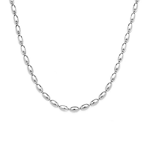 (925 Sterling Silver Oval Bead Necklace, 3MM, 4MM Sterling Silver Bead Ball Necklace, Rice Bead Chain Necklace, Silver Beaded Necklace 16-36 (16, 3MM))