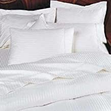 1200 Thread Count Four (4) Piece Queen Size White Stripe Bed Sheet Set, 100% Egyptian Cotton, Premium Hotel Quality