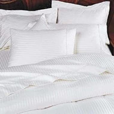 800 Thread Count Three (3) Piece King Size White Stripe Duvet Cover Set, 100% Egyptian Cotton, Premium Hotel Quality