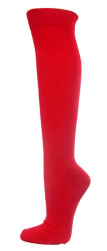 Youth/Kids Knee High Sports Athletic Baseball Softball Socks, RED, Youth (Solid Youth Socks)