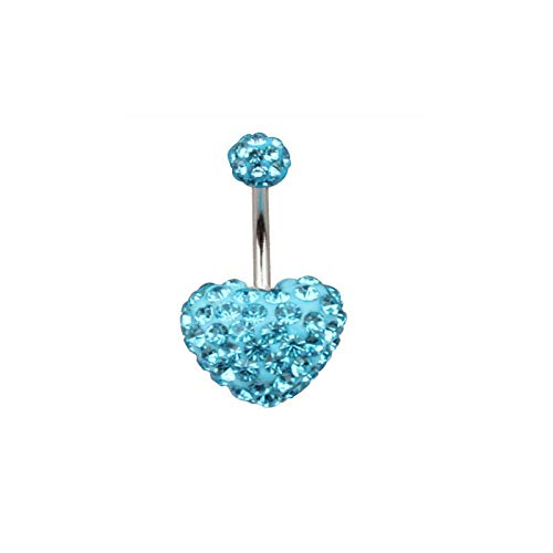 (14G Surgical Steel Belly Button Heart Multi Crystal Rhinestone Bar Navel Ring (Colors - Light Blue))