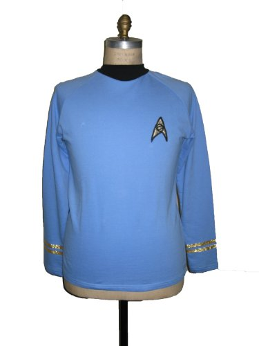 Star Trek Tos Classic Spock Costume Blue -Super Deluxe- Cotton - Large by Filmwelt Berlin