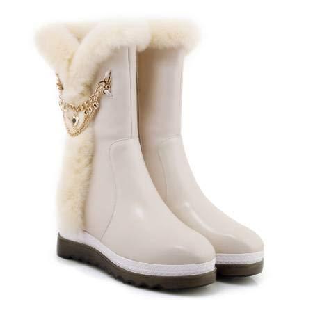 TSNMNB La versión Coreana de la cuña de Piel de Conejo de Invierno Botas de Nieve Fondo Grueso de Las Mujeres en Las Botas Aumentaron Las Botas Casuales de la Torta Suelta de Cuero, 35, Color Beige