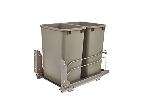 Rev-A-Shelf - 53WC-1835SCDM-212 - Double 35 Qt. Pull-Out Champagne Waste Container with Soft-Close Slides ()