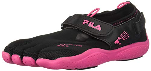 Fila Skele-Toes EZ Slide Drainage Lighted Sandal (Toddler/Little Kid/Big Kid),Black/Hot Pink,4 M US Big Kid