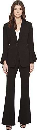 Tahari ASL Women's Tulip Long Sleeve Jacket With Flare Pants Black (Asl Suit)