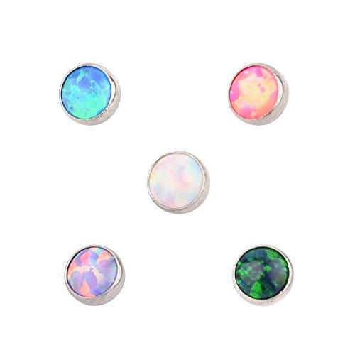 TOPBRIGHT 5PCS G23 Titanium 16G Micro Dermal Anchor Top Internal Thread Flower Opal Lip Ear Piercings (Bright Gem)